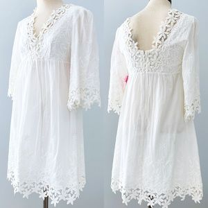 Betsey Johnson White Lace Boho Dress 2 Bell Sleeve
